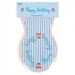 20 sacs à bonbons - Rice - Happy Birthday - Modèle Bleu