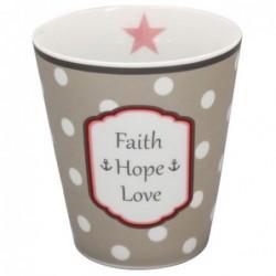 Mug - Krasilnikoff - Gris à pois - faith-hope-love