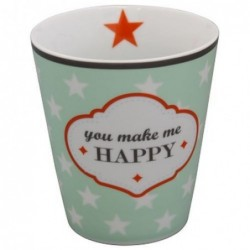 Mug - Krasilnikoff - Mint - étoiles blanches - You make me happy