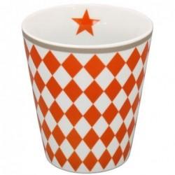 Mug - Krasilnikoff - Blanc - Damier orange