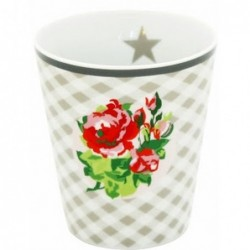 Mug - Krasilnikoff - fleuri - carreaux gris