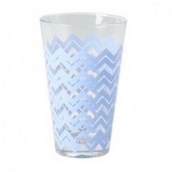 Lot de 6 verres - Motif chevron - Rice - Bleu