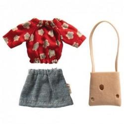 Vêtement maman souris - Micro - Maileg - Jupe jeans / Top rouge à fleurs