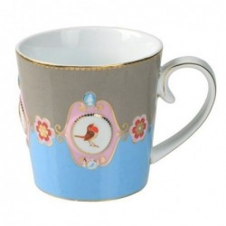 Mug médaillon bleu-kaki love bird - Pip studio - 25cl