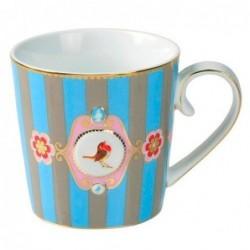 Mug médaillon bande bleu-kaki love bird - Pip studio - 25cl