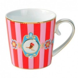 Mug médaillon bande rouge-rose love bird - Pip studio - 25cl