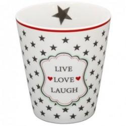 Mug - Krasilnikoff - Blanc étoiles grises - Live-Love-Laugh