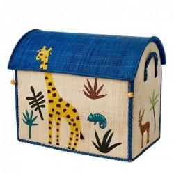 Maison Range jouets - Rice - Animaux de la Jungle - Moyen Modèle - Bleu