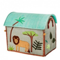 Maison Range jouets - Rice - Animaux de la Jungle - Petit Modèle - Bleu