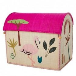 Maison Range jouets - Rice - Animaux de la Jungle - Grand Modèle - Rose