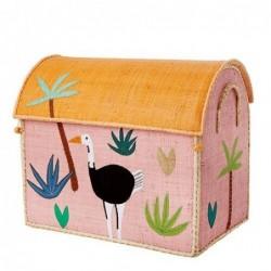 Maison Range jouets - Rice - Animaux de la Jungle - Moyen Modèle - Rose