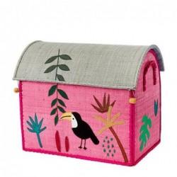Maison Range jouets - Rice - Animaux de la Jungle - Petit Modèle - Rose