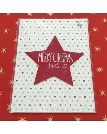 Carte de Noël - Etoile rouge - Merry Christmas - Rader