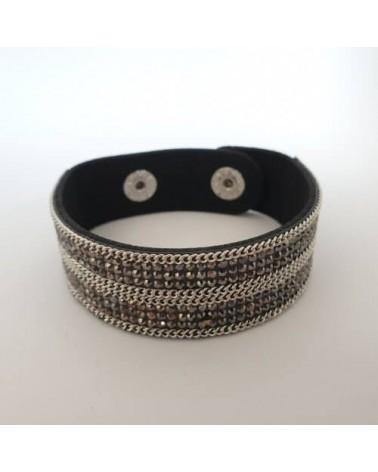 Bracelet pailleté gris en cuire synthétique - Nusa Dua