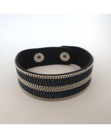 Bracelet pailleté bleu sombre en cuire synthétique - Nusa Dua