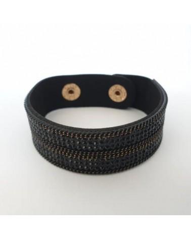 Bracelet pailleté noir et or en cuire synthétique - Nusa Dua