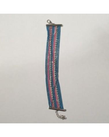 Grand bracelet perles - Bleu et rose - Nusa Dua
