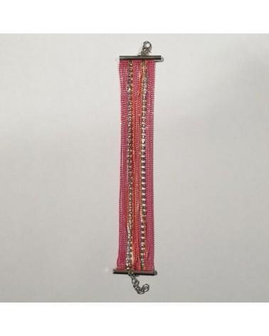 Grand bracelet perles - Rose et orange - Nusa Dua