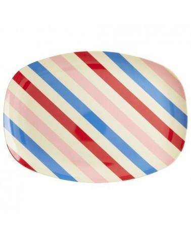 Assiette rectangulaire Mélamine - Plateau Rice - Candy Stripes