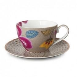 Tasse et sous tasse à thé fantasy - Pip Studio - khaki