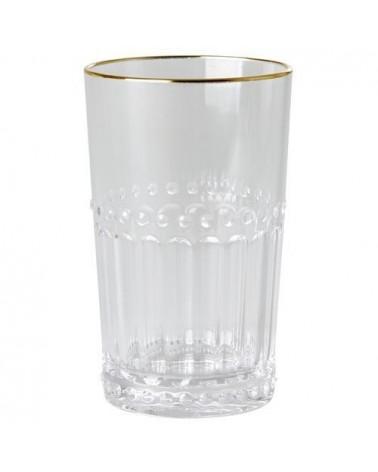 Verre à eau - Rice - Acrylique - Bord doré - Transparent