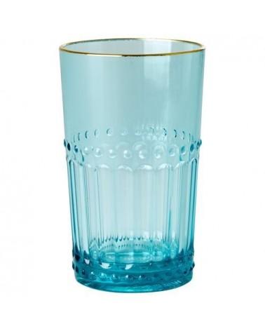 Verre à eau - Rice - Acrylique - Bord doré - Bleu menthe