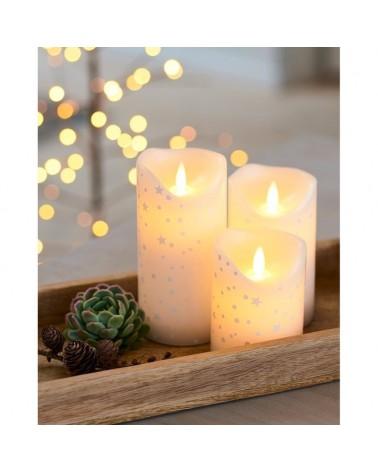 Lot de 3 bougies LED - Sirius - Romantic - Blanche