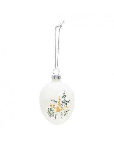 Œuf en verre à suspendre - Greengate - Mira white - Fleurs jaunes