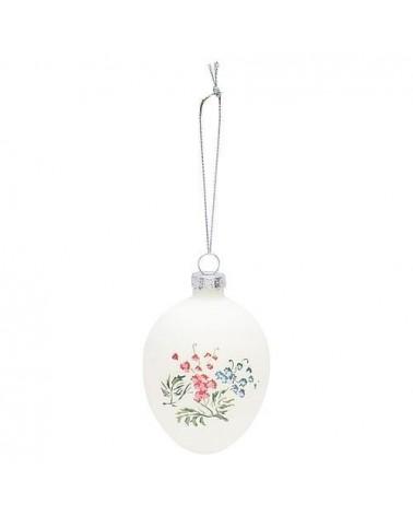 Œuf en verre à suspendre - Greengate - Mira white - Fleurs rouges