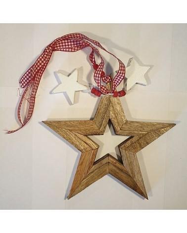 Suspension étoile en bois ajourée - Country Casa