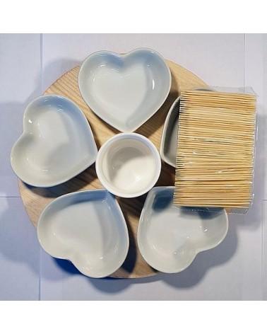 Lot de 5 plats cœurs blancs avec pot à sauce - Country Casa