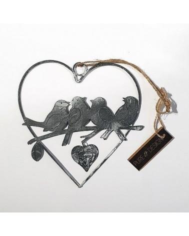 Suspension cœur Oiseaux  - Country Casa