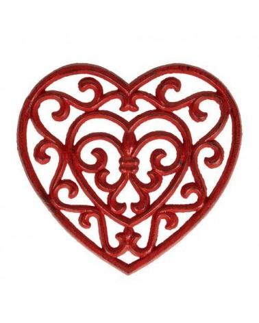 Dessous de plat Coeur - Comptoir de Famille - Rhodonea rouge