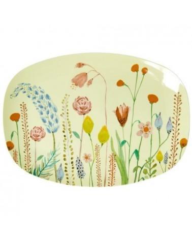 Petite assiette rectangulaire mélamine - Summer Flowers