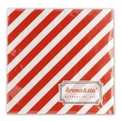 Lot de 20 serviettes en papier - Krima et Isa - rayure rouge