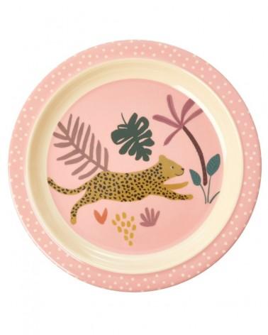 Assiette plate à rebord - Rice - Jungle - Coral