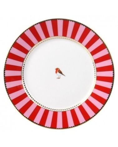 Assiette à pain Pip Studio Love Birds - bande Rouge Rose 17 cm