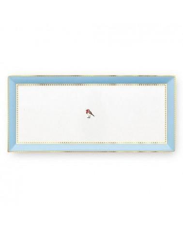 Plat à cake rectangulaire Love Birds Bleu/Kaki - Pip Sutio