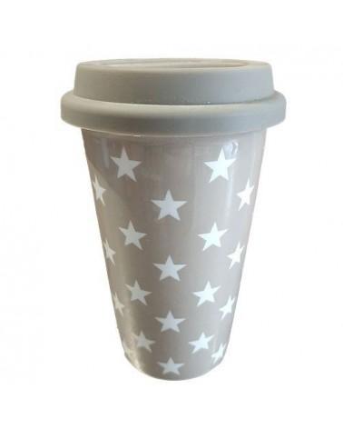 Grand Mug de voyage - Krasilnikoff - Taupe étoiles blanches