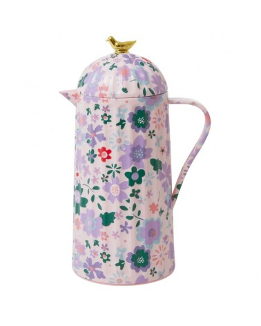 Thermos 1L - Rice - Pink fall floral - Gold bird