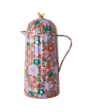 Thermos 1L - Rice - Brown fall floral - Gold bird
