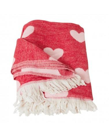 Couverture - Rice - Rouge et Cœurs - 150 X 125 cm