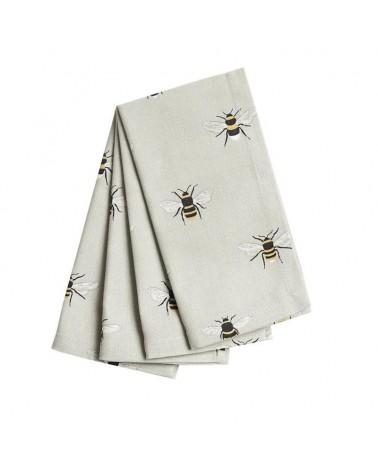 Lot de 4 serviettes - Sophie Allport - Abeilles blanches