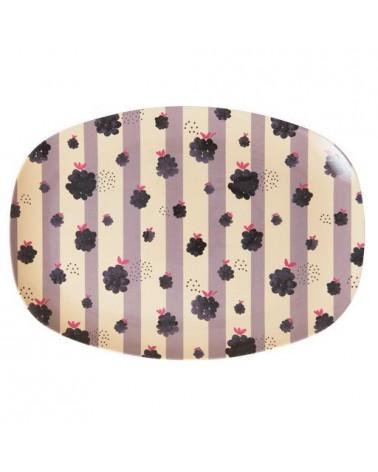 Petite assiette rectangulaire Mélamine - Black berry beauty