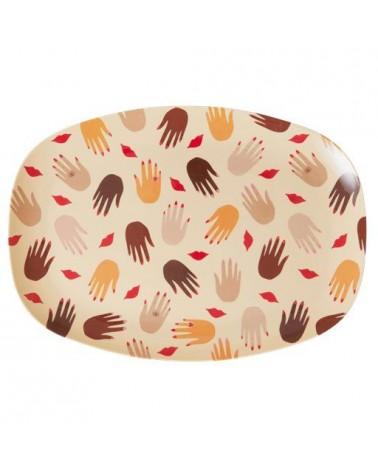 Petite assiette rectangulaire Mélamine - Hands and kisses
