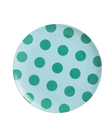 Assiette plate mélamine - Rice - Mint with green dots