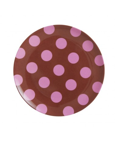 Assiette plate mélamine - Rice - Brown with soft pink