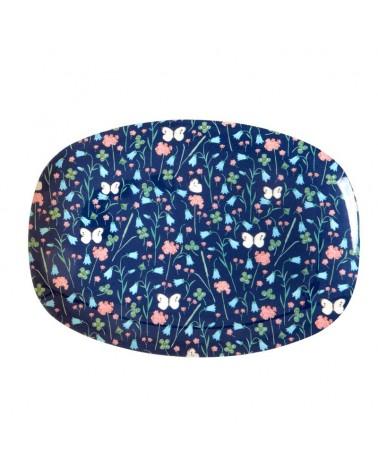 Petite assiette rectangulaire Mélamine - Sweet Butterfly Blue print