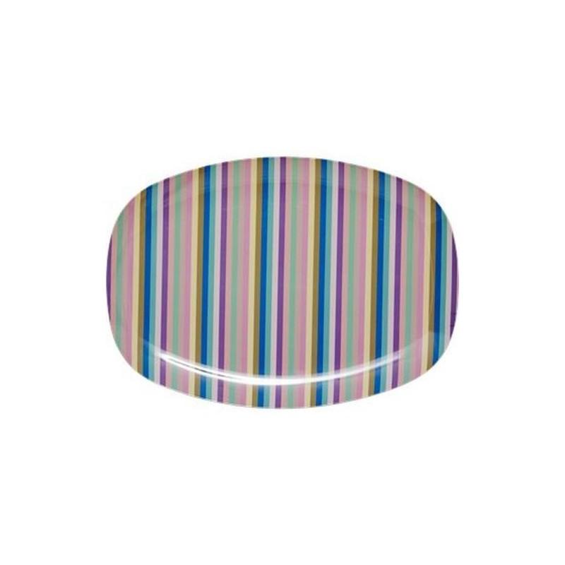 Assiette rectangulaire Mélamine - Plateau Rice - Multicolor stripes