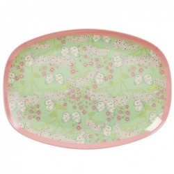 Assiette rectangulaire Mélamine - Plateau Rice - Butterfly and flowers